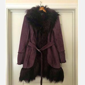bebe Faux Suede and Faux Fur Purple Coat